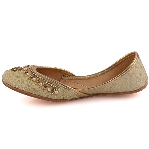 Flache Pumpe LS Gold Traditionelle Khussa Hausschuhe K Schuhe Unze 629 Mädchen Kinder Handgefertigte Verschönert Leder Crown Neue 10cpwzxqH