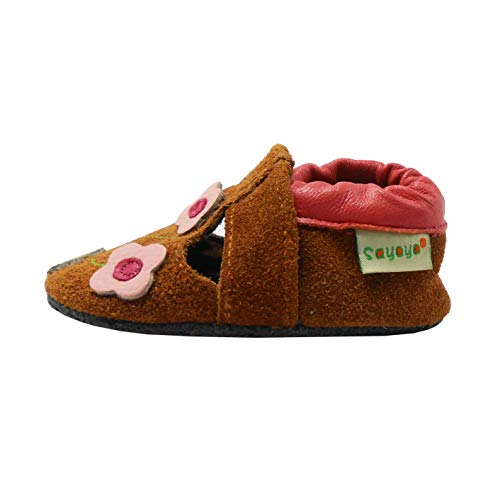 SAYOYO Flower Soft Sole Leather Infant Toddler Prewalker Shoes(12-18 Months,Brown)