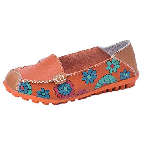 Vovotrade Zapatos casual de cuero para mujer Naranja