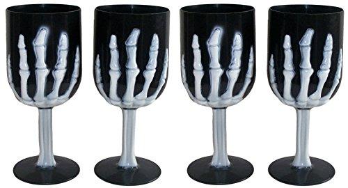 Halloween Skeleton Hand Goblet Cups Black Set of 4