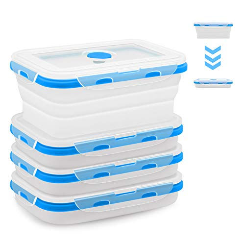 4 Pack Food Storage Container with Lids,Collapsible Silicone Food Preserving Storage Boxes,Bento Lunch Boxes,Oven Microwave Freezer and Dishwasher Safe (Different Capacity)