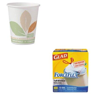 KITCOX70427SLO370PLAJ7234 - Value Kit - Solo Bare PLA Paper Hot Cups (SLO370PLAJ7234) and Glad ForceFlex Tall-Kitchen Drawstring Bags (COX70427)