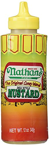 Hot Dog Mustard - Nathans Famous Original Coney Island 100th Anniversary Deli Style Mustard