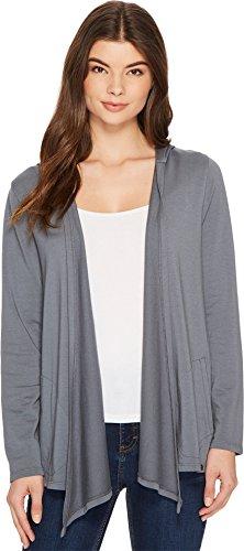 Mod-o-doc Women's Cotton Modal Fleece Button Hem Hooded Cardigan Falcon Large ()