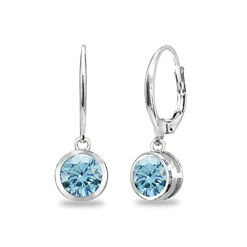 (Sterling Silver Light Blue 6mm Round Bezel-Set Dangle Leverback Earrings Made with Swarovski Crystals)