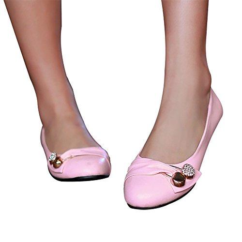 Scarpe Da Balletto In Pelle Scamosciata Delle Donne Di Ifantasy Scarpe A Punta Arco Strass Penny Mocassini Rosa Pu