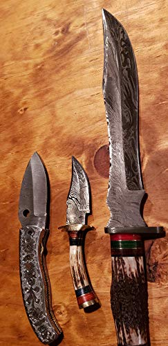 (Deer Antler Handle Hunting Knife Damascus Bowie Skinner Folding Set Stag Horn Collection Premium Outdoors Tools (K634))