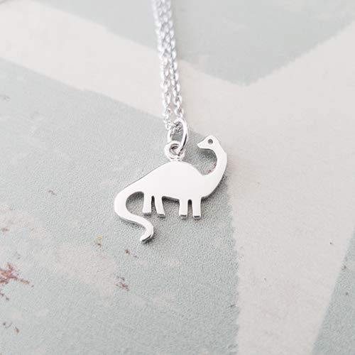 - Sterling Silver Dinosaur Brontosaurus Charm Necklace 18