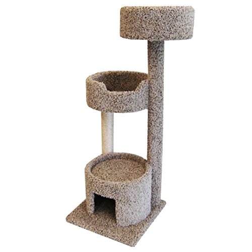Carpet Kitty Tree 52 inch Beige Cat Condo 2 Beds with Rope by CozyCatFurniture