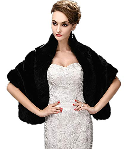 FOLWEP Women's Black Faux Fur Wrap Cape Stole Shawl Shrug for Wedding/Party/Show ()