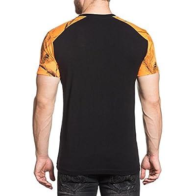 Affliction Men's PBR To Glory Tee Shirt Black/Orange Blaze