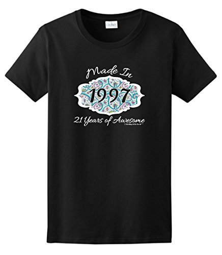 Supplies 21st Birthday Gift Made 1997 Paisley Crest Ladies T-Shirt Large Black ()