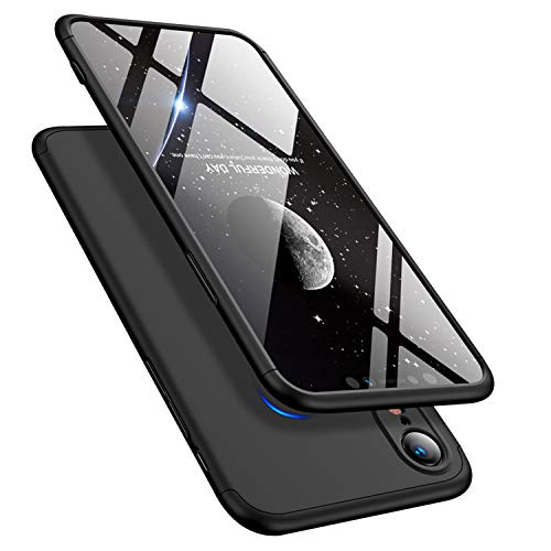 Price comparison product image iPhone XR 6.1'' Case 360 Degree Slim Cover Shockproof Full Body Coverage Hard Protective Case + Tempered Glass Screen Protector (Black)
