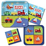 Creative Converting On The Go 'Trucks Planes Trains & Boats' Birthday Party Supplies Kit for 16 Guests