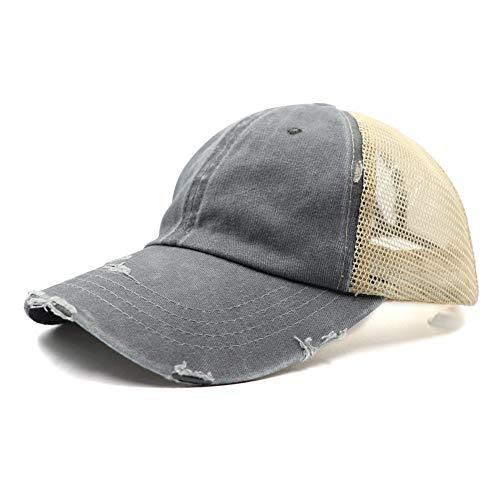 Distressed Vintage Mesh Dad Hat Plain Baseball Cap Low Profile Unconstructed Trucker Messy High Bun Hat Adjustable Ponycaps