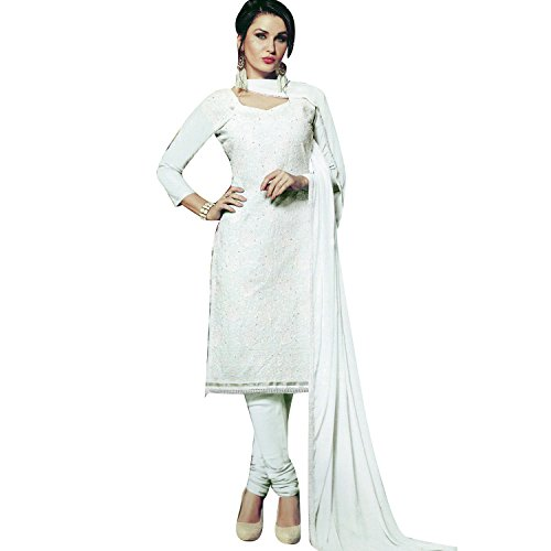 White Beauty Cotton Lakhnavi Embroidery Salwar Kameez Womens Indian Dress Ready to Wear Salwar - Cotton Salwar Suit