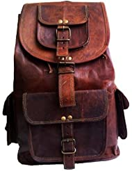 20 Genuine Leather Retro Rucksack Backpack College Bag,school Picnic Bag Travel