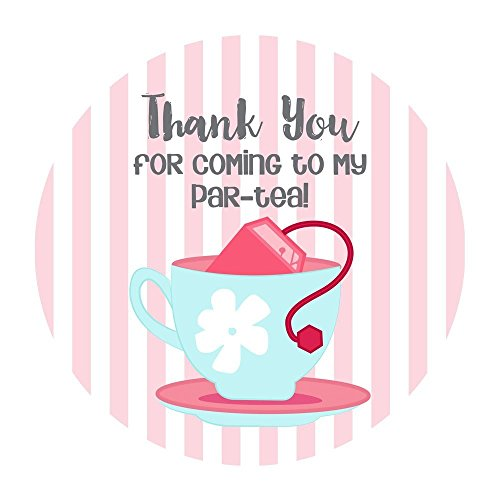 (Tea Party Thank You Stickers - Party Favors and Envelope Seal Labels for Girl Party - Set of 30)