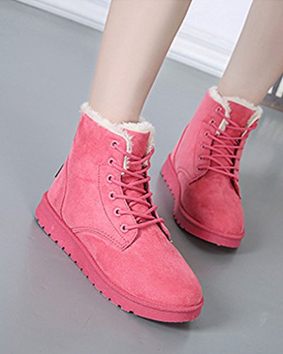 Minetom Boots Cavaliere Scarpe Snow Autunno Pelliccia Up Donna Lace Stivali Rose Neve Piatte Stivali Inverno Classico rBqwvrWpxf
