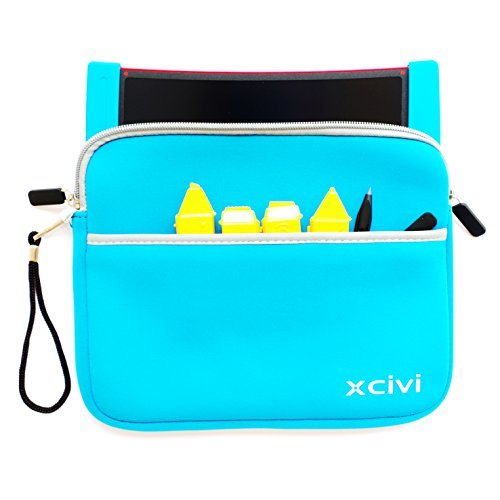 Xcivi Neoprene Protective Carry Case for Boogie Board Scribble n Play with Zip Accessary Pocket (Blue)