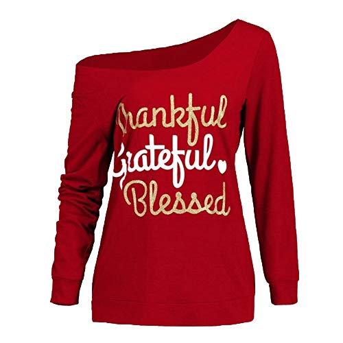 (Sttech1 Thanksgiving Letter Print Long Sleeve Cold Shoulder Oblique Collar Skew Neck Top T-Shirt-Thankful Grateful)