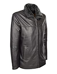 A1 FASHION GOODS Mens Real Leather Jacket Black Box Hip Length Parka Coat William