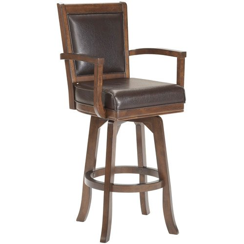 Cheap  Swivel Bar Stool, Rich Cherry Finish, Rectangle Back and Arms, Rich Cherry..