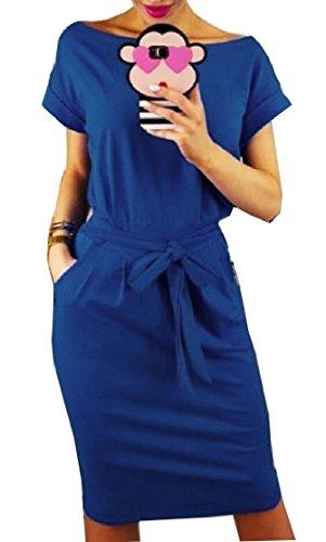 Women up Work Neck Round Pockets Midi Lace Blue Sleeve Short Commute Dress Stylish Jaycargogo Solid dAYnwqxpAa