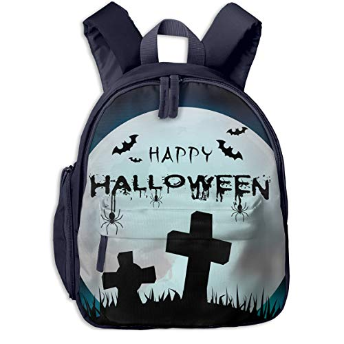 Happy Halloween Grave Full Moon Double Zipper Waterproof Children Schoolbag With Front Pockets For Youth Boys Girl -