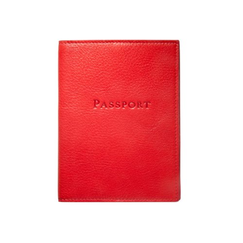 Traditional Leather Passport Holder, Red
