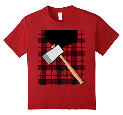 [Kids Lumberjack Costume Tee Shirt with beard and ax 8 Cranberry] (Girl Lumberjack Costumes)