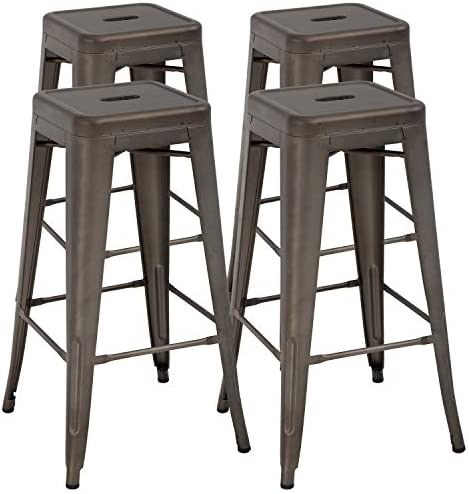 Metal Bar Stool Set of 4 Counter Height Barstool 30 Inches Industrial Bar Chairs Patio Stool Stackable Backless Kitchen Stool Indoor Outdoor Metal Bar Stool Kitchen Stools Restaurant Bar Chairs,Gun