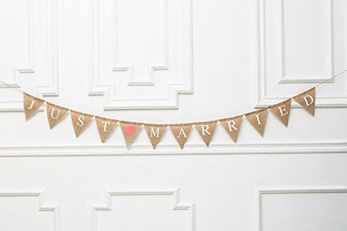 Just Hitched Wedding Burlap Banner, Reci弶n Casados, Just Married Banner, Rustic Wedding Decor, We Eloped Sign, Wedding Car Sign, Barn D弶cor ()