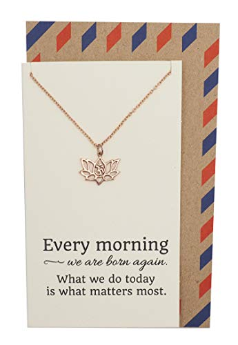 (Quan Jewelry Yoga Lotus Flower Necklace with Om Symbol, Happy Birthday Gifts Ideas for Mom, Daughter, Women with Inspirational Quote on Gift Card (Rose Gold))
