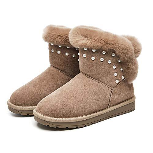 Camel Couleur Thirty-nine AGECC Bottes De Neige à Tube Court Velours d'hiver Bottes Courtes Cuir Fond Plat Chaussures en Coton Chaud.