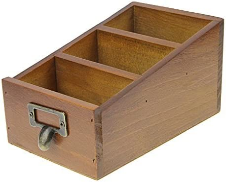 Puerta de tarjeta de visita de madera caja de almacenaje con 3 ...