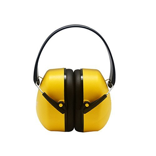 Shooting Earmuffs/ Noise Soundproof Headset/Sport Headphones/ Hearing Protection Ear Muffs for Industrial Firearm Hunting, Relaxing Earphones for Work, Study and Sleep, Foldable Ear Covers- Red/Yellow