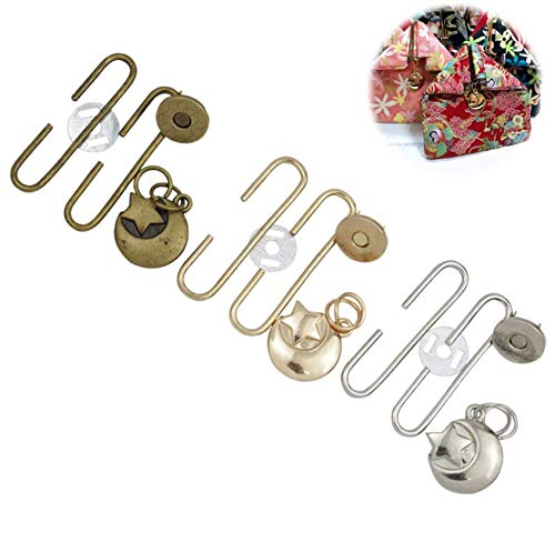 (GuoFa 15pcs Purse Clasps C-Shaped Frame Clutch Star Moon kiss Clasp Lock Magnetic Snap Buckle and Charms Pendants Craft Accessory 5cm(2 inch) Bronze, Silver, Light Gold (Multicolor, 2inch))