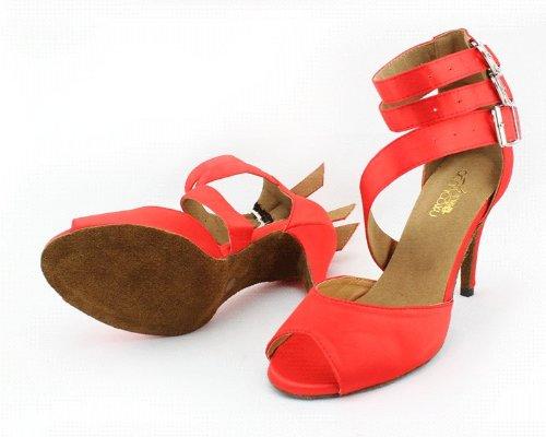 Zapatillas Litin Para Mujer Abby Q-6110 Baile De Salón 4 Tacón Rojo Acampanado Rojo