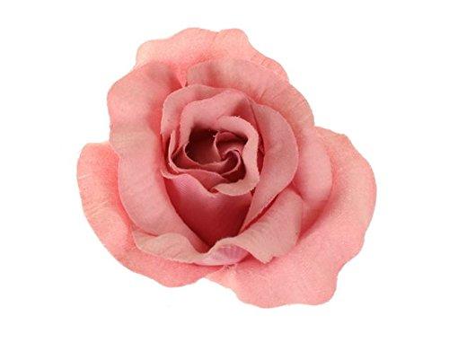 Pastel Crystal Petals (Salmon Pink Large Pastel Fabric Carmen Flower Rose Flamenco Dancer Hair Clip Slide by Altissimo Moda)