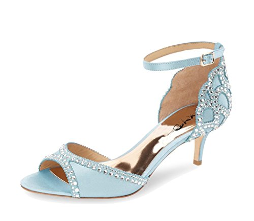 Sandals Ankle Wedding Rhinestones Shoes Heels Pumps Dance Ballroom Strap Toe Peep With Sky XYD Women Blue For Iwq8Sfxq