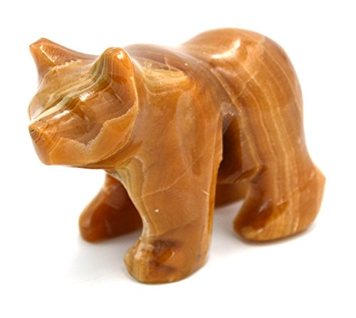 Chestnut Brown Stone Grizzly Bear Figure, 3.5