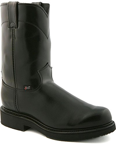 Justin Mens Black Melo Veal Leather Work Boots Pull-On Double Comfort 6.5EE (Justin Work Boots Men 4860)