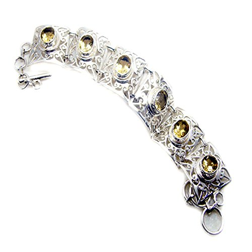 Natural Citrine 925 Silver Bracelet For Women November Birthstone Bangle Toggle Clasps Length 6.5-8 Inch by 55Carat