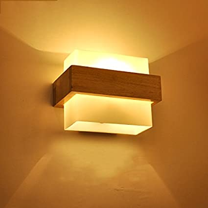 LED Solid Wood Wall Lamp Japanese Simple Creative Modern Lamp Bedroom  Living Room Balcony Aisle Lighting