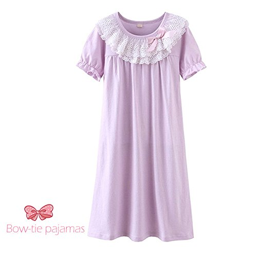 DGAGA Little Girls Princess Nightgown Cotton Lace Bowknot Sleepwear Nightdress Purple 7-8 Years /140cm