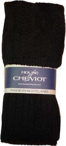 Kilt Hose - Glenmore Kilt Socks (Medium (8.5-10.5), Black)