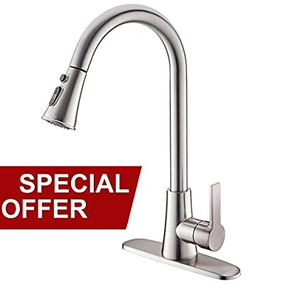Lead-free Modern Commercial Brushed Nickel Stainless Steel Single Handle Pull Down Sprayer Spring Kitchen Sink Faucet, Pull Out Kitchen Faucets With Deck Plate