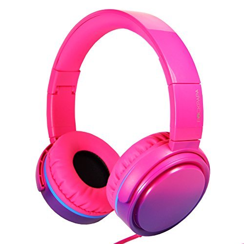 RockPapa Over Ear Stereo Foldabe Headphones Adjustable, Noise Isolating, Heavy Deep Bass, Folding Headsets with Microphone 3.5mm for Smart Phones Tablets Computers MP3/4 DVD Gradient Pink