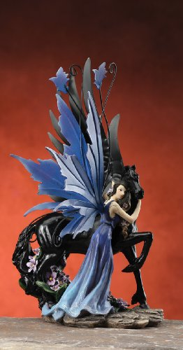 Gorgeous Fairy Collection Fairy with Black Pegasus Figurine Statue Shelf Desk Decoration ()